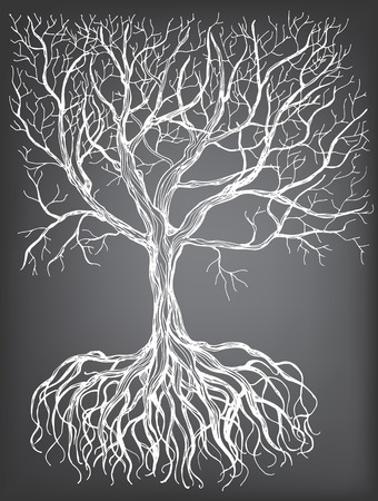 Hand - drawn tree with root on chalkboard background. Vector illustration contains gradient meshes. Illustration