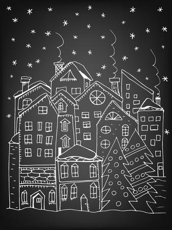 house illustration: Winter town. Doodle houses with smoking chimneys and stylized fir trees with Christmas decoration. Vector illustration contains gradient meshes. Illustration