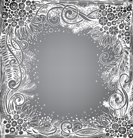 gradient meshes: Doodle frame. Frame made of various fir branches, snowflakes and Christmas decoration. Abstract Christmas background. Vector illustration contains gradient meshes.