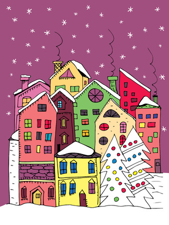 town: Winter town. Doodle houses with smoking chimneys and stylized fir trees with Christmas decoration. Illustration