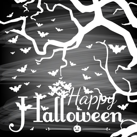 gradient meshes: Halloween card.  Three branch silhouette, flying baths and Halloween lettering on chalkboard background.  Vector illustration contains gradient meshes. Illustration