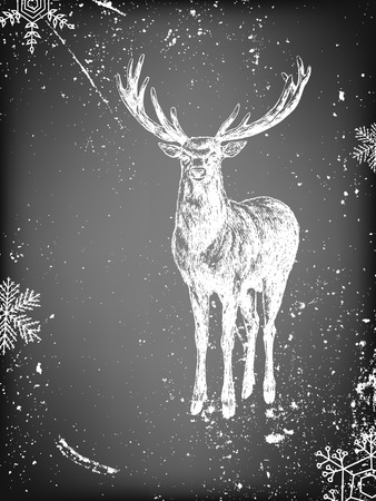 deer: Hand - drawn background with deer and falling snow on chalkboard background. Vector illustration contains gradient meshes.