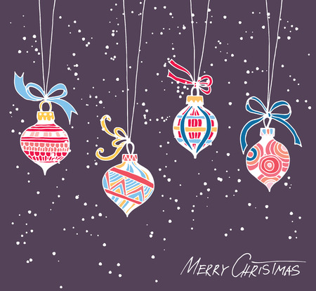 christmas decor: Hand drawn Christmas baubles with tied with bows. Winter illustration with falling snow.