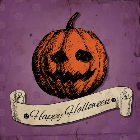 gradient meshes: Halloween card with hand - drawn pumpkin and scroll on background with pattern on pumpkins and old paper texture. Vector illustration contains gradient meshes.