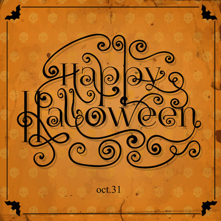 gradient meshes: Halloween card with lettering, frame and background pattern with skulls and old paper texture. Vector illustration contains gradient meshes. Illustration