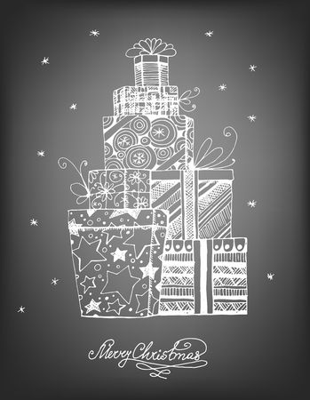 christmas gifts: Hand - drawn pile of Christmas gifts on chalkboard background. Vector illustration contains gradient meshes.