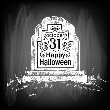 gradient meshes: Halloween card. Hand drawn tombstone with lettering on chalkboard background. Vector illustration contains gradient meshes.