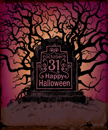 all saints day: Halloween card. Hand drawn tombstone with lettering on spooky background. Vector illustration contains gradient meshes. Illustration