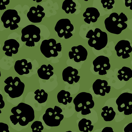 all saints day: Seamless pattern with stylized human skulls. Halloween background. Illustration