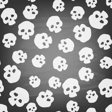 all saints day: Seamless pattern with stylized human skulls on chalkboard. Halloween background.