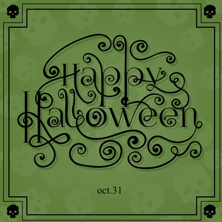 all saints day: Halloween card with lettering, frame and background pattern with skulls and old paper texture. Vector illustration contains gradient meshes. Illustration