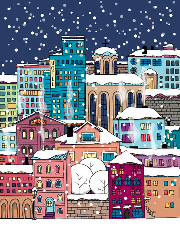 Hand drawn houses and buildings. Winter town covered with snow. Christmas illustration.