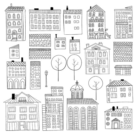 brick building: Collection of hand - drawn houses and trees on white background. Elements for design. Illustration