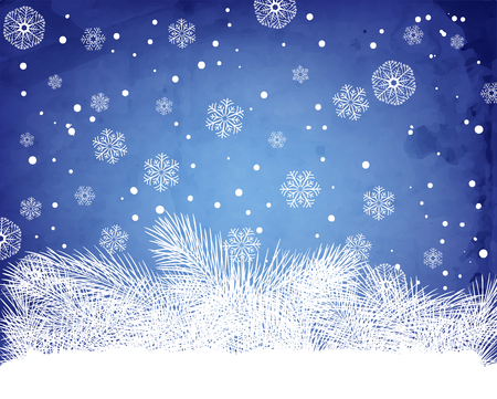 holiday season: White fir branches on blue background with falling snowflakes and old paper texture. Vector illustration contains gradient meshes. Illustration