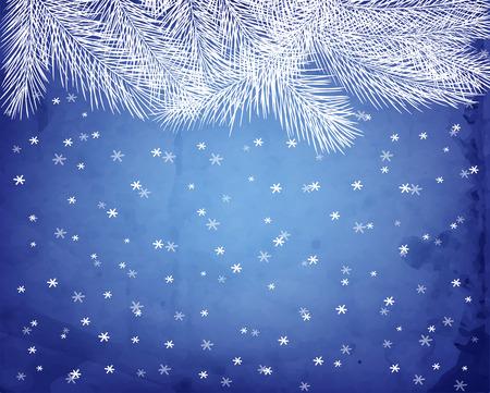 neige qui tombe: White Fir branches sur fond bleu avec des chutes de neige et la texture vieux papier. Vector illustration contient maillages gradient. Illustration