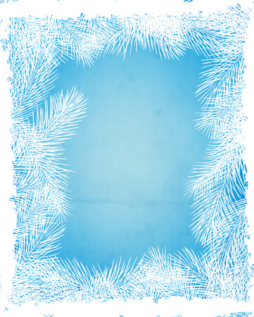 winter holiday: Winter card with frame made of fir branches on blue background with old paper texture and falling snow. Vector illustration contains gradient meshes.
