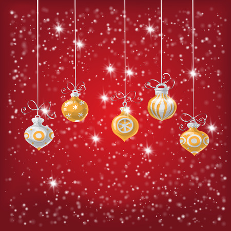 gradient meshes: Christmas baubles and falling snow and lights  on red background with space for text. Vector illustration contains gradient meshes.