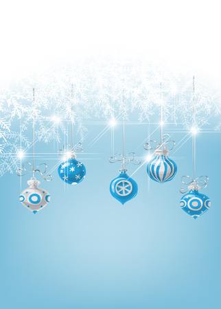 gradient meshes: Christmas baubles and white fir branches on soft blue background with space for text.Vector illustration contains gradient meshes.