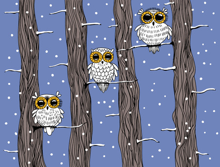 snow background: Winter card. Hand drawn cute owls and trees on blue background with falling snow.