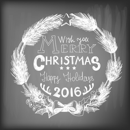 gradient meshes: Hand - drawn Christmas wreath made of fir branches  tied with  bow and decorated with star on chalkboard background. Vector illustration contains gradient meshes. Illustration