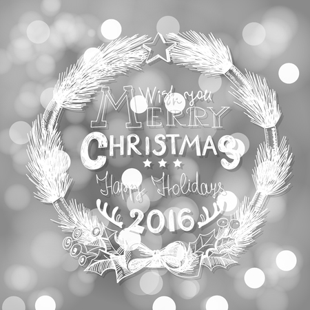 christmas star background: Hand - drawn Christmas wreath made of fir branches  tied with  bow and decorated with star on bokeh background.