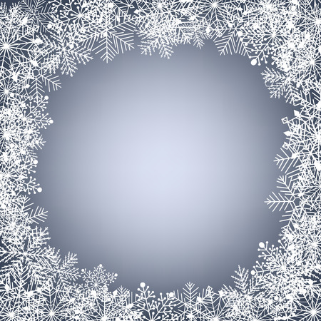 gradient meshes: Frame of snowflakes on soft blue background. Christmas card. Vector illustration contains gradient meshes.