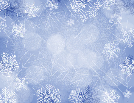 gradient meshes: Blue Christmas background with falling snow, hand drawn snowflakes and lights. Vector illustration contains gradient meshes.