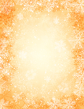 gradient meshes: Golden Christmas background with falling snow, lights and  frame of snowflakes. Vector illustration contains gradient meshes.