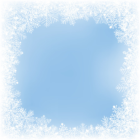 gradient meshes: Frame of snowflakes on soft blue background. Christmas card.Vector illustration contains gradient meshes. Illustration