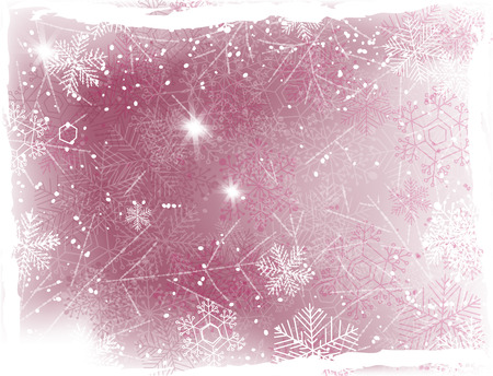 winter flower: Silver Christmas background with falling snow, hand drawn snowflakes and grunge frame. Vector illustration contains gradient meshes.