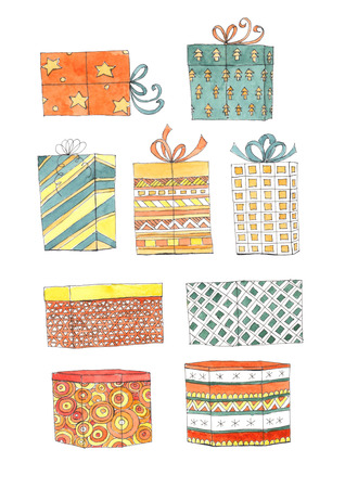 chequered ribbon: Set of 9 Christmas gifts on white background. Watercolor illustration.