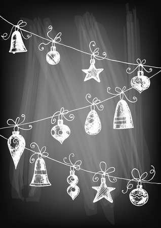 gradient meshes: Hand drawn Christmas ornaments  - baubles, teardrops  and stars on chalkboard background. Vector illustration contains gradient meshes.