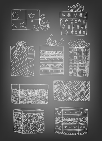 chequered ribbon: Set of 9 hand drawn Christmas gifts on chalkboard background. Vector illustration contains gradient meshes. Illustration