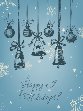 christmas blue: Hand drawn Christmas ornaments - bells and baubles on blue background with snowflakes. Vector illustration contains gradient meshes. Illustration