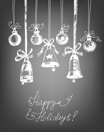 hand bells: Hand drawn Christmas ornaments - bells and baubles on chalkboard background. Vector illustration contains gradient meshes.