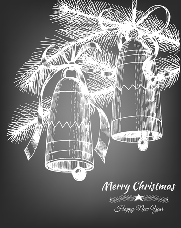 moños de navidad: Two Christmas bells tied with bows and fir branches on chalkboard background. Vector illustration contains gradient meshes.