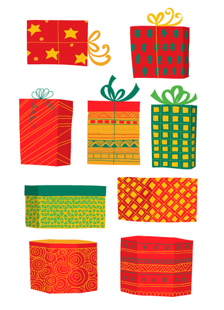 chequered ribbon: Set of 9 hand drawn Christmas gifts on white background. Illustration