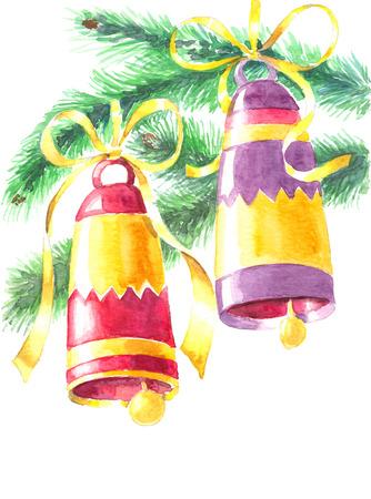 moños de navidad: Dos campanas de Navidad atadas con lazos y ramas de abeto en el fondo blanco. Ilustración de la acuarela.