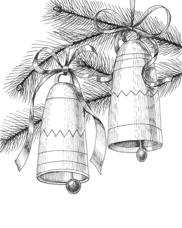 hand bells: Hand drawn with ink Christmas bells tied with bows and fir branches on white background.