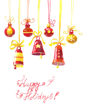 hand bells: Hand drawn Christmas ornaments - bells and baubles on white background. Watercolor illustration.