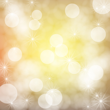gradient meshes: Golden bokeh background with snowflakes. Christmas illustration.. Vector illustration contains gradient meshes.