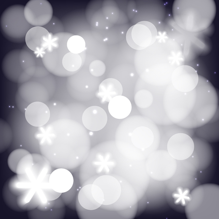 gradient meshes: Winter background, white fluffy snow, falling snowflakes and lights. Vector illustration contains gradient meshes.
