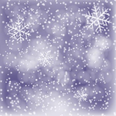 neige qui tombe: Winter background, de la neige blanche duveteuse, la chute des flocons de neige et de lumières. Vector illustration contient maillages gradient. Illustration