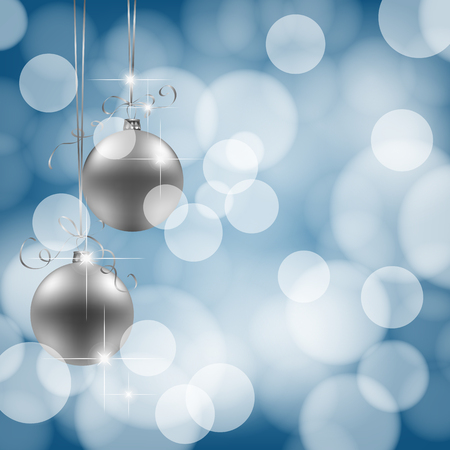 gradient meshes: 2 silver Christmas baubles on blue bokeh background. Vector illustration contains gradient meshes.