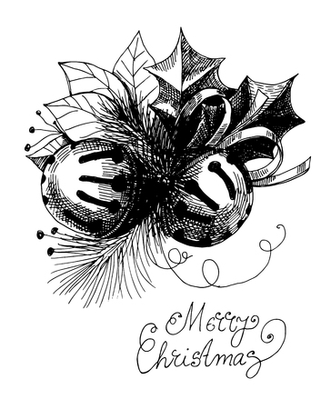 hand bells: Two hand  drawn Christmas bells, leaves, fir branch and lettering on white  background.