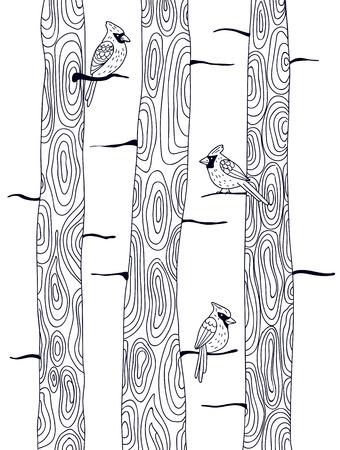 perching: Three cardinal birds perching on trees. Black and white illustration. Illustration
