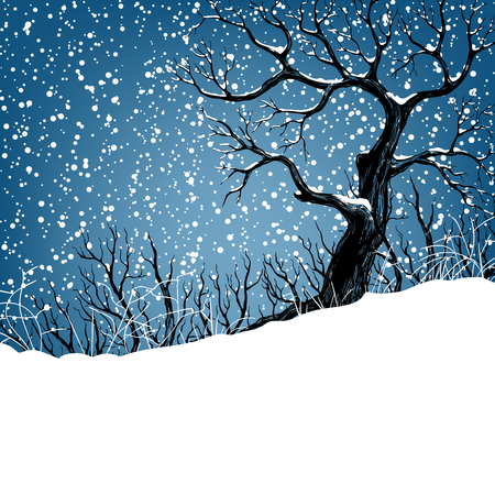 Winter landscape with tree and falling snow. Christmas illustration. Vector illustration contains gradient meshes.