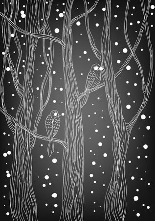 gradient meshes: Doodle winter card. Birds on trees and falling snow. Christmas illustration. Vector illustration contains gradient meshes.