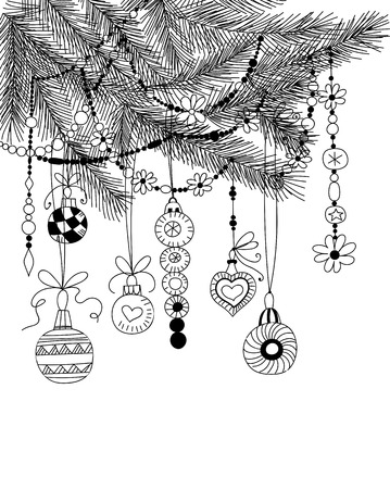 baubles: Hand  drawn fir branches with Christmas decoration- baubles and garlands on white background.
