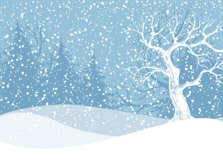 Winterlandschap met sparren en vallende sneeuw. Kerst illustratie. Vector illustratie bevat gradiënt mazen.